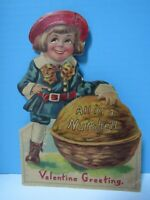 RARE ANTIQUE 1924 BUSTER BROWN DIE-CUT MECHANICAL VALENTINE- MOVEABLE ARM & EYES