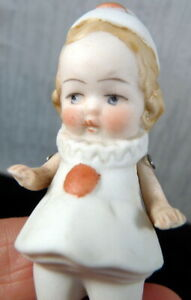 """Antique German All Bisque 3"""" GIRL CLOWN DOLL Side Glancing Dollhouse Miniature"""