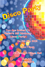 10 Personalised Disco Birthday Party Invitations / Thank You Cards