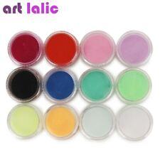12 Bottle Colors Acrylic Nail Art Tips UV Gel Powder 3D DIY Decorations