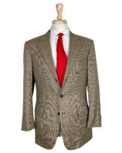 LUXURY Belvest Davide Cenci Silk/Wool 40S/40R Tan Check Jacket Sport Coat Blazer