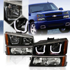 Black Dual 3D LED U-Halo Headlight Amber Signal+Bumper for 03-06 Chevy Silverado
