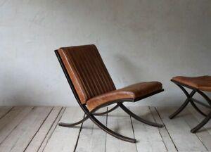 Nkuku Nwarana Aged Ribbed Leather Lounger Chair Mid Century Modern Tan Brown