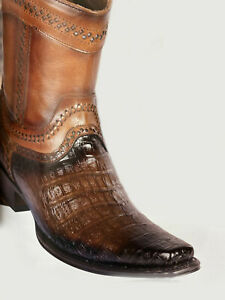 Men's Los Altos Caiman Belly  Low Shaft Boots European Square Toe Handcrafted