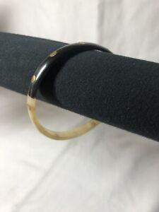 "Animal Horn Bangle Bracelet Beige/Black w Golden Accent Circles 7mm 1/4"""
