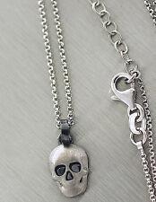 Totenkopf - Silberkette 925 u. Anhänger mit Blutstein - Kette und Silberanhänger
