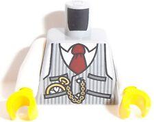 Lego Torso X 1 Pinstriped Vest, Red Tie and Pocket Watch Pattern Light Blue Grey