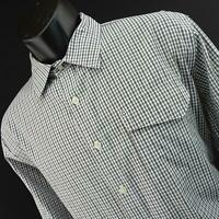 Mens Victorinox + Classic Fit Black Plaids Dress Shirt Size Large L Casual