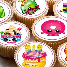 24 icing cake toppers decorations Shopkins cupcake fairy cakes