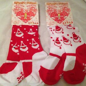 NEW baby babies GIRLS XMAS TIGHTS red white cotton rich SANTA FATHER CHRISTMAS
