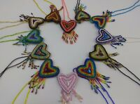 Artsy Boho Hand Beaded heart love Necklace Mayan folk art Made in Guatemala