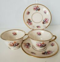 2 Floral Bouquet by Gordon Belleek Footed Tea cups and Saucer sets