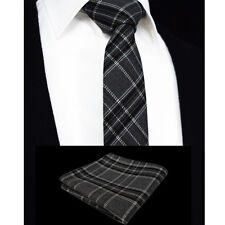 Mens Scottish Tartan Tie - Skinny Slim Grey Black White Check Free Hanky 401-12