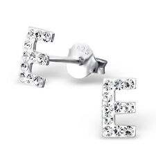 Childrens Girls 925 Sterling Silver Initial E with Clear Crystals Stud Earrings