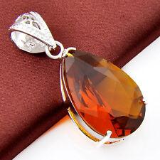 Wedding Gift Teardrop Honey Brazil Citrine Gems Solid Silver Necklace Pendants