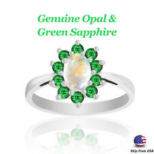 Opal with Green Sapphire Ring SIZE 7