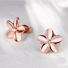New Women's Rose Gold Plated Crystal Flower Ear Stud Earrings Fashion Jewelry CA