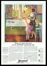 1927 Vtg Ad Standard Plumbing Fixtures 1920s Kitchen Sink w/Garbage Disposal