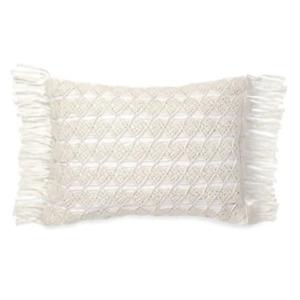 "Ralph Lauren Mardelle Hand Made 100% Cotton 15"" x 20"" Decorative Pillow - White"