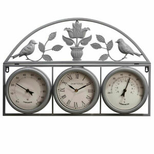 67CM GARDEN WALL WEATHER STATION CLOCK THERMOMETER WATERPROOF HYGROMETER DECOR