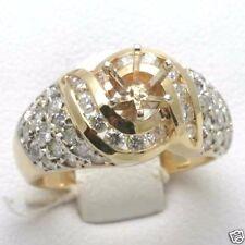 Vintage 14k yellow gold diamond mounting swirl setting ring 1.5 carat pave