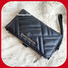 MICHAEL KORS PEYTON QUILTED DOUBLE ZIP WRISTLET WALLET LEATHER BLACK/SILVER