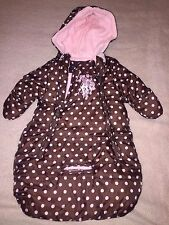 US POLO HOODED BABY BUNTING Brown Pink Dots WARM WINTER 0 3 6 9 Months GIRLS EUC