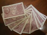 lotto di 17 banconote da 5 lire 1944 regno d'Italia