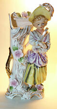 Beautiful Color Japanese PORCELAIN VASE Lady with Mandolin Head Cracked Repaired