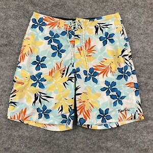 Nautica Mens Board Shorts Size 34 Multicoloured Floral Drawstring Lined 100.02