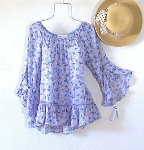 New~Periwinkle Blue Crochet Lace Peasant Blouse Ruffle Boho Top~Size Medium M