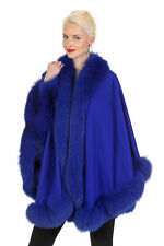 Womens Cashmere Fox Cape Real Fur Trimmed - Royal Blue Your Lady