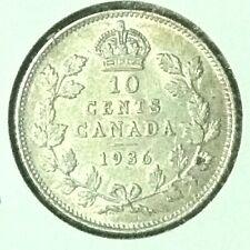 Canada  10 Cents  Silver  KM 23a  AU  1936