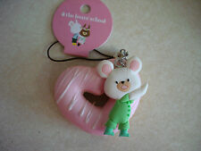 Kawaii Squishy The Bears School Donut Squishy David tag Pink Heart Donut