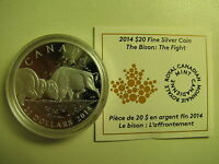 2014 Proof $20 The Bison #2-The Fight Canada .9999 silver COIN&COA ONLY twenty d
