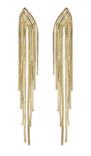 CLIP ON EARRINGS - gold drop earring with strands - Bracha G