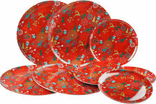 Set Of 8 Matching Melamine Plastic Christmas Dinner / Side Plates - Red Stag