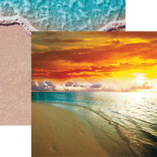 Scrapbooking Crafts 12X12 Paper Sunset in Paradise Blue Water Golden Beach Sand