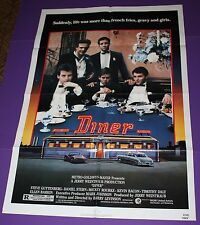 DINER MOVIE POSTER ORIGINAL ONE SHEET MICKEY ROURKE KEVIN BACON