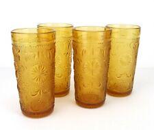 "Indiana Glass Tiara Sandwich 5.5"" Water Glass Tumbler 10 oz Amber Set 4"