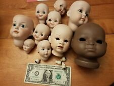 Lot of 10 Porcelain Doll Heads + Eyes - Doll Parts Doll Repair - Some Signed
