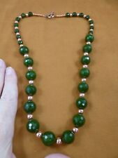 """(v308-30) 24"""" long Green jade gemstone + copper beads beaded Necklace JEWELRY"""