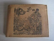 Mens Leather Bi-Fold Wallet/ Billfold-DUCK HUNTER & HIS DOG Image *Great Gift*