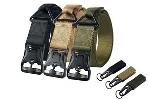 Tactical Belt Military Utility Belt Quick Release Buckle Tactical w/ Gear Clips