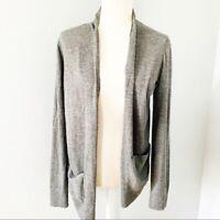 Ann Taylor Loft Heather Gray Wool Blend Open Front Cardigan Sweater Size M