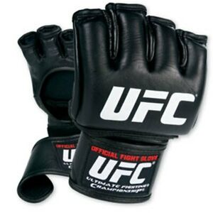 NEW! Official UFC MMA Fight Gloves - Leather - Mixed Martial Arts - Black Sz M