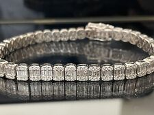 7.24 Ct Round And Baguette  Diamond Tennis Bracelet , white gold
