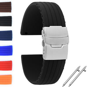 18 | 20 | 22 | 24 mm Silikon Uhrenarmband Ersatz Armbanduhr Gummi Band Schwarz