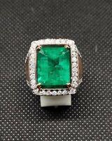 Natural Emerald Gemstone Real Diamond 18K White Gold Men's Ring SR549