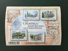 Feuillet timbre France 2014 neuf YT F4838 Chemins St-Jacques Compostelle. Pliure